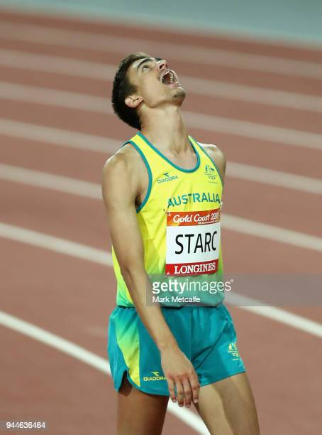 Brandon Starc of Australia reacts as he competes in the Men's High Jump final during athletics on day seven of the Gold Coast 2018 Commonwealth Games...