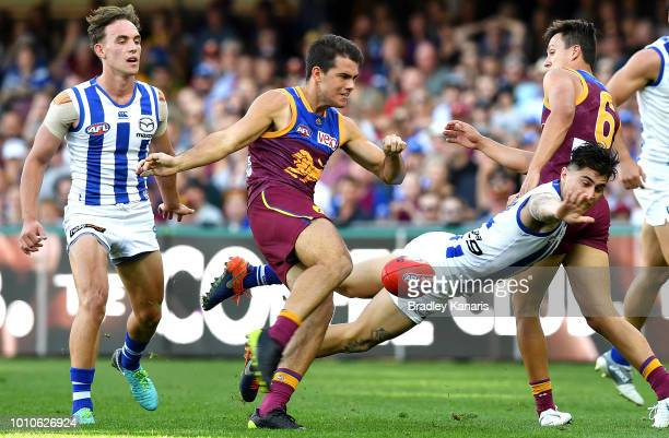 Brandon Starcevich of the Lions kicks the ball during the round 20 AFL match between the Brisbane Lions and the North Melbourne Kangaroos at The...