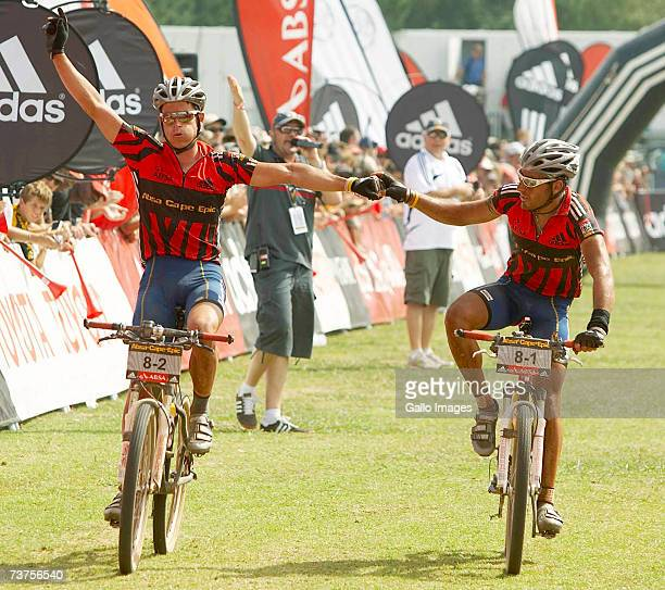Brandon Stewart and Kevin Evans of Team MTN Raleigh celebrate winning the overall best African Team category during stage 8 of the 2007 Absa Cape...