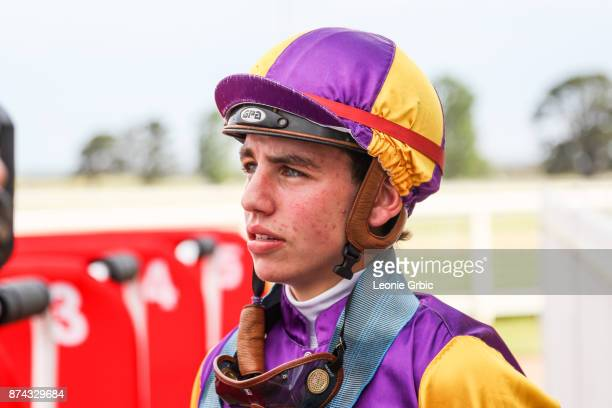 Brandon Stockdale after winning the James Yeates Printing BM64 Handicap at Sale Racecourse on November 15 2017 in Sale Australia