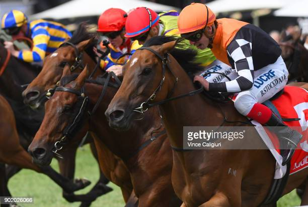 Brandon Stockdale riding Sheriff John Stone wins Race 7 during Melbourne Racing at Caulfield Racecourse on January 7 2018 in Melbourne Australia
