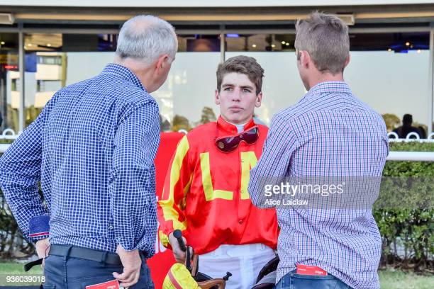 Brandon Stockdale speaks with connections after The Mayor wins the United Petroleum Handicap at Ladbrokes Park Hillside Racecourse on March 21 2018...