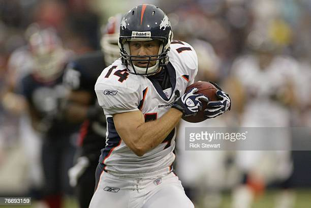 Brandon Stokley of the Denver Broncos runs with the ball during the game against the Buffalo Bills on September 9, 2007 at Ralph Wilson Stadium in...