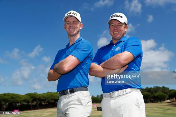 Brandon Stone and George Coetzee of South Africa pose for a portrait during Day One of the GolfSixes at Oitavos Dunes on June 07, 2019 in Cascais,...