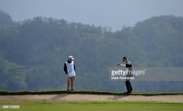 Brandon Stone of Republic of South Africa has to drop a ball at the back of the 4th green during the Madeira Islands Open - Portugal - BPI at Club de...