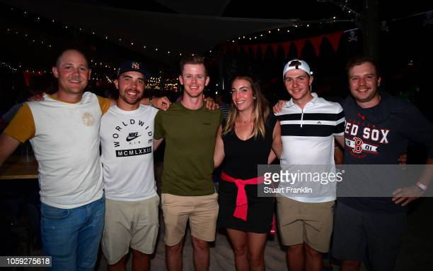 Brandon Stone of South Africa and friends at the beach party after the first round of the Nedbank Golf Challenge at Gary Player CC on November 8 2018...