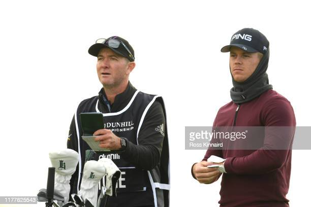 Brandon Stone of South Africa and his caddie on the 3rd hole during Day three of the Alfred Dunhill Links Championship at Carnoustie Golf Links on...