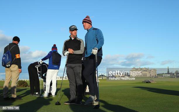 Brandon Stone of South Africa and Paul O'Connell former rugby player chat on the 18th tee during day one of the 2017 Alfred Dunhill Championship at...