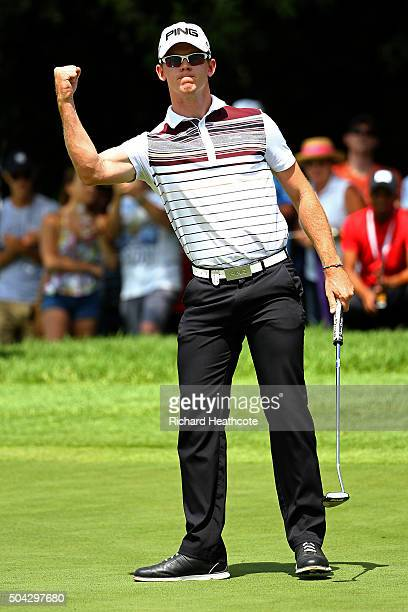 Brandon Stone of South Africa celebrates a birdie putt on the 16th during the final round of the BMW SA Open at Glendower Golf Club on January 10...