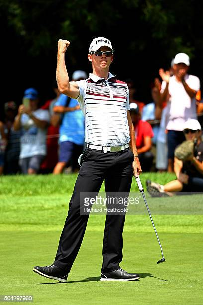 Brandon Stone of South Africa celebrates a birdie putt on the 16th during the final round of the BMW SA Open at Glendower Golf Club on January 10,...