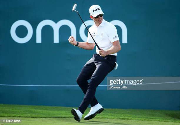 Brandon Stone of South Africa celebrates after a putt on the 18th during Day Four of the Oman Open at Al Mouj Golf Complex on March 01, 2020 in...