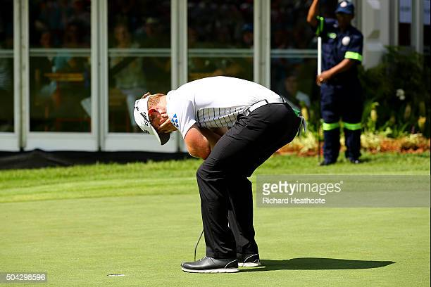 Brandon Stone of South Africa celebrates after putting on the 18th and finishing his final round of the BMW SA Open at Glendower Golf Club on January...