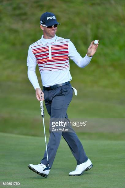 Brandon Stone of South Africa celebrates his birdie on the 17th hole during the first round of the 146th Open Championship at Royal Birkdale on July...