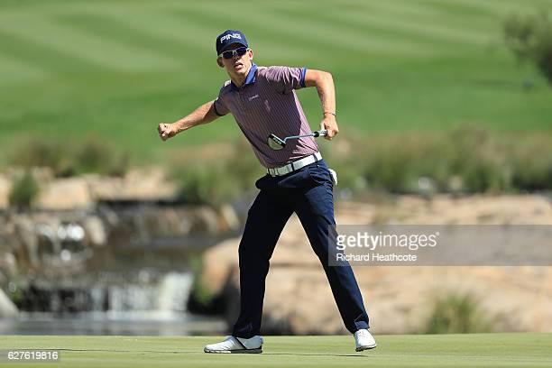 Brandon Stone of South Africa celebrates victory on the 18th green during the final round of The Alfred Dunhill Championship at Leopard Creek Country...