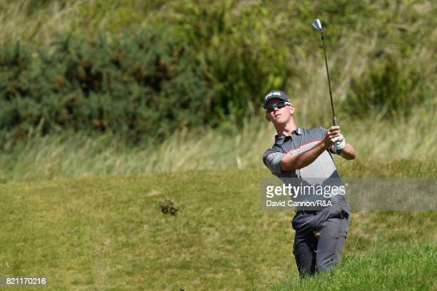 Brandon Stone of South Africa hits his second shot on the 9th hole during the final round of the 146th Open Championship at Royal Birkdale on July 23...