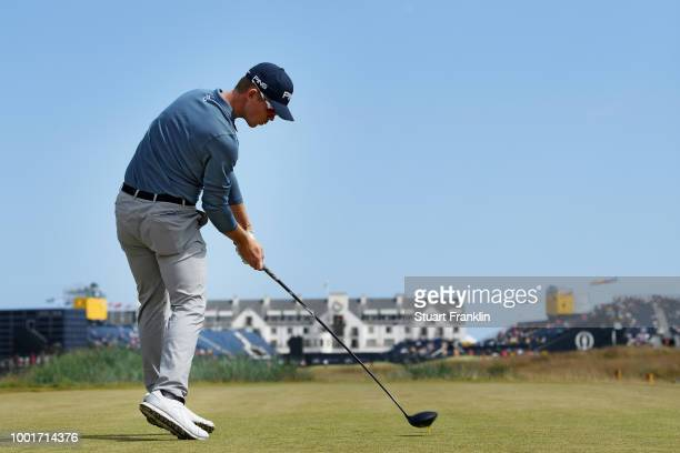 Brandon Stone of South Africa hits his tee shot on the 18th hole during the first round of the 147th Open Championship at Carnoustie Golf Club on...