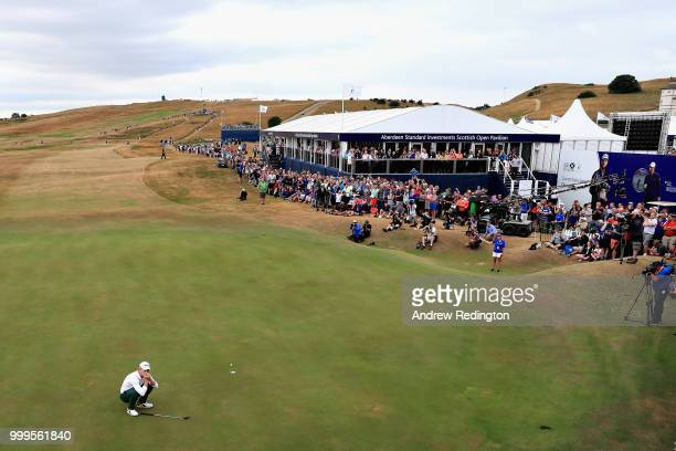 Brandon Stone of South Africa lines up his putt on hole eighteen during day four of the Aberdeen Standard Investments Scottish Open at Gullane Golf...