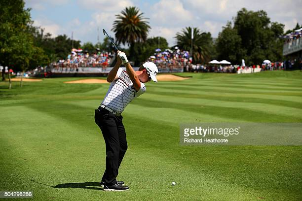 Brandon Stone of South Africa plays an approach shot on the 18th during the final round of the BMW SA Open at Glendower Golf Club on January 10, 2016...
