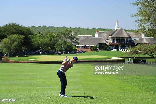 Brandon Stone of South Africa plays his second shot on the 18th during the final round of The Alfred Dunhill Championship at Leopard Creek Country...