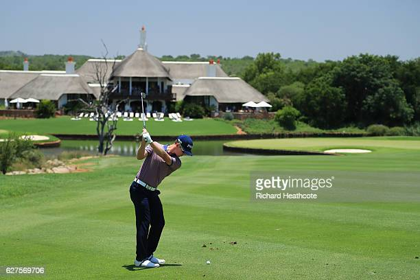 Brandon Stone of South Africa plays his second shot on the 9th during the final round of The Alfred Dunhill Championship at Leopard Creek Country...