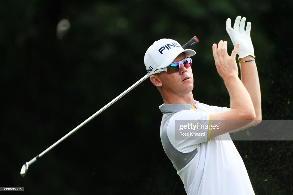 Brandon Stone of South Africa plays his shot from the fourth tee during the first round of the WGC - HSBC Champions at Sheshan International Golf Club on October 26, 2017 in Shanghai, China.