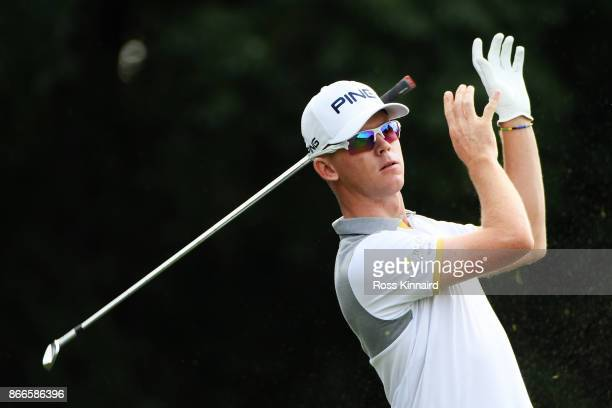 Brandon Stone of South Africa plays his shot from the fourth tee during the first round of the WGC - HSBC Champions at Sheshan International Golf...