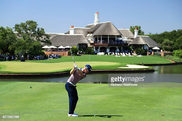 Brandon Stone of South Africa plays his third shot on the 18th during the final round of The Alfred Dunhill Championship at Leopard Creek Country...