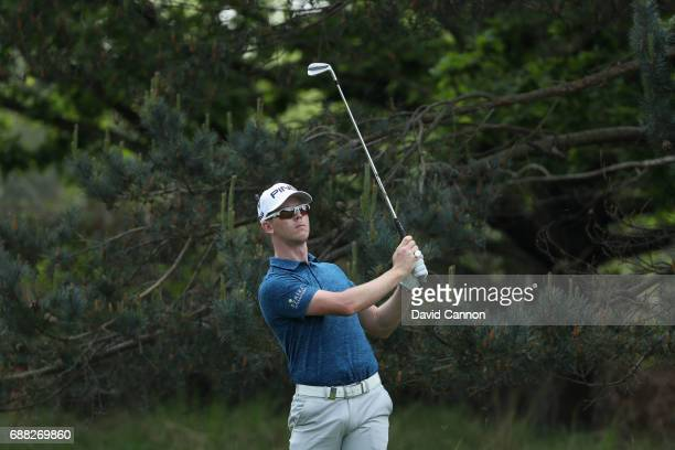Brandon Stone of South Africa plays the ninth hole during day one of the BMW PGA Championship at Wentworth on May 25 2017 in Virginia Water England
