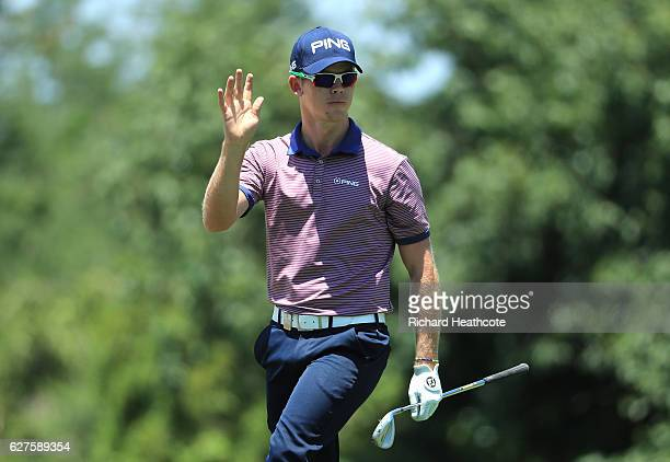 Brandon Stone of South Africa reacts to an approach shot on the 14th during the final round of The Alfred Dunhill Championship at Leopard Creek...