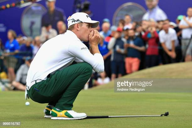 Brandon Stone of South Africa reacts to his missed birdie putt on hole eighteen during day four of the Aberdeen Standard Investments Scottish Open at...