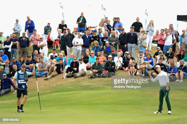 Brandon Stone of South Africa reacts to his putt on hole twelve during day four of the Aberdeen Standard Investments Scottish Open at Gullane Golf...