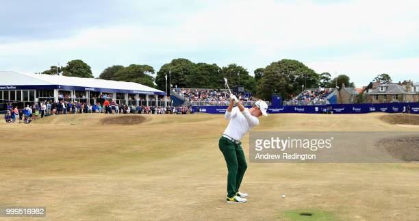 Brandon Stone of South Africa takes his second shot on hole eighteen during day four of the Aberdeen Standard Investments Scottish Open at Gullane...