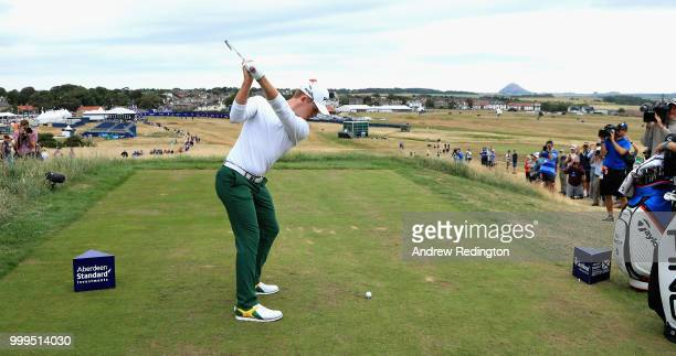 Brandon Stone of South Africa takes his tee shot on hole eighteen during day four of the Aberdeen Standard Investments Scottish Open at Gullane Golf...