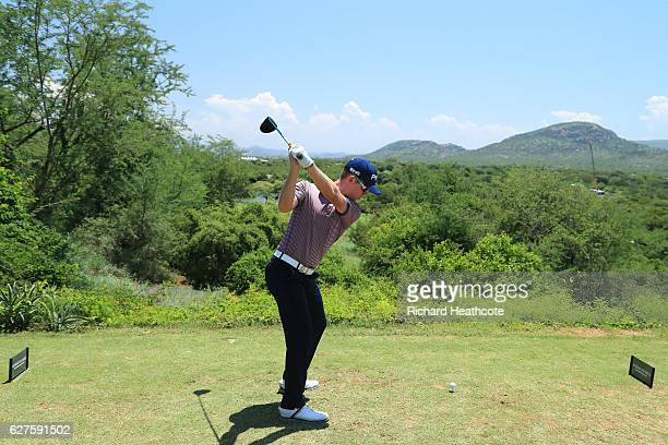 Brandon Stone of South Africa tees off on the 15th during the final round of The Alfred Dunhill Championship at Leopard Creek Country Golf Club on...