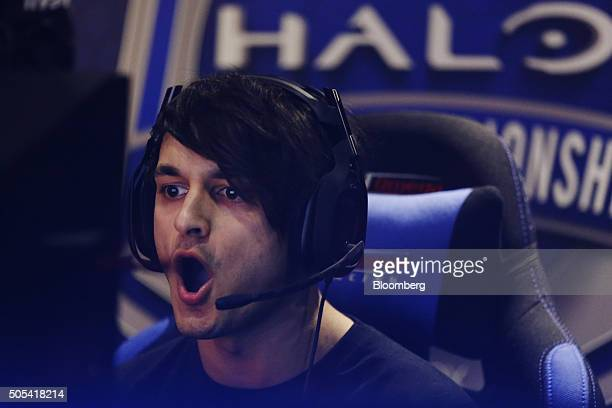 Brandon Stones also known as Respectful of Team Dignitas reacts whilst competing against team Epsilon eSports during the final round of Halo UK World...