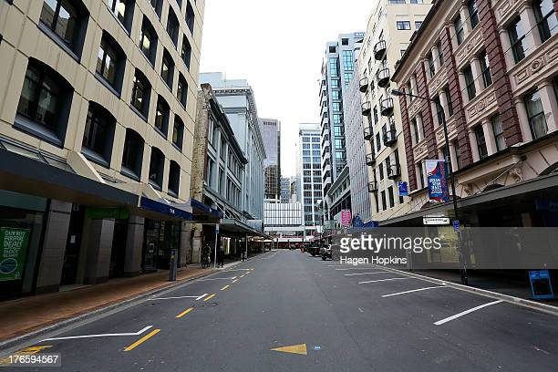 Brandon Street is left virtually deserted after a large number of people were evacuated from the CBD following a magnitude 62 earthquake on August 16...