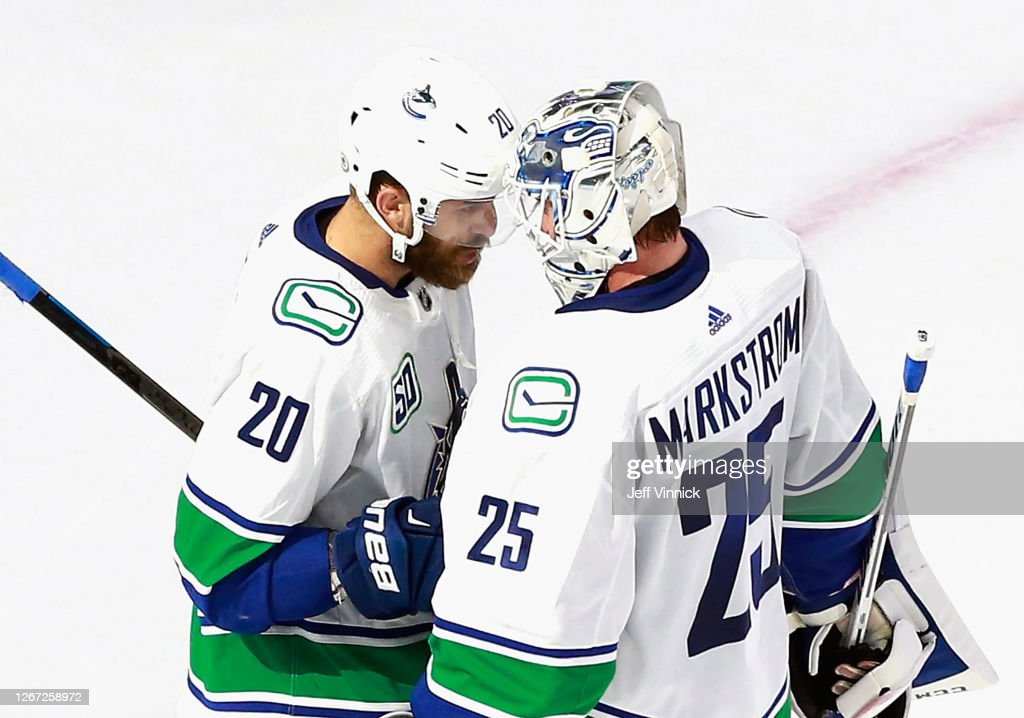Brandon Sutter And Jacob Markstrom Of The Vancouver Canucks Celebrate News Photo Getty Images