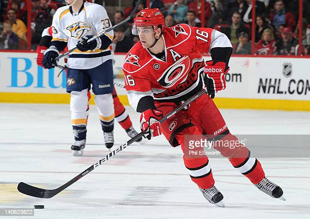Brandon Sutter of the Carolina Hurricanes caries the puck up ice during an NHL game against the Nashville Predators on February 28 2012 at RBC Center...
