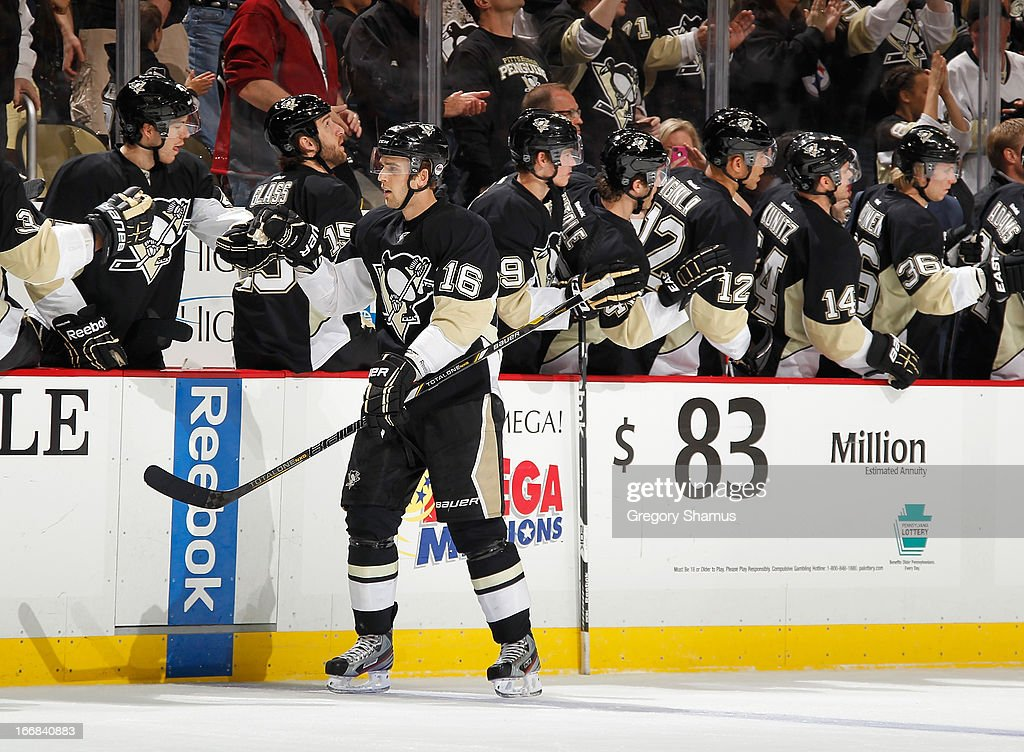Brandon Sutter #16 of the Pittsburgh Penguins celebrates with the bench after his second goal of the game during the second period against the Montreal Canadiens on April17, 2013 at Consol Energy Center in Pittsburgh, Pennsylvania.
