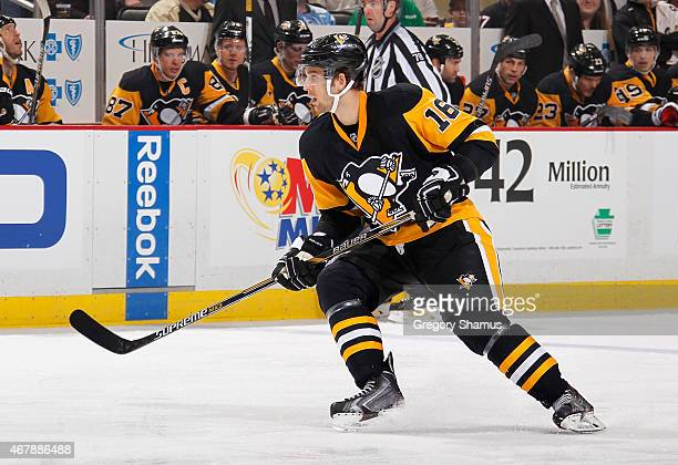 Brandon Sutter of the Pittsburgh Penguins skates against the Detroit Red Wings at Consol Energy Center on March 15 2015 in Pittsburgh Pennsylvania