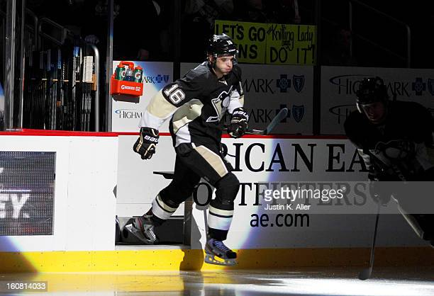 Brandon Sutter of the Pittsburgh Penguins skates against the New Jersey Devils during the game at Consol Energy Center on February 2 2013 in...