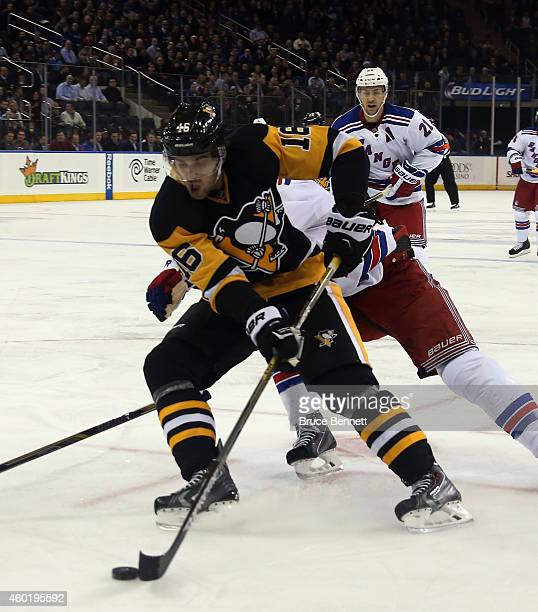 Brandon Sutter of the Pittsburgh Penguins skates against the New York Rangers at Madison Square Garden on December 8 2014 in New York City The...