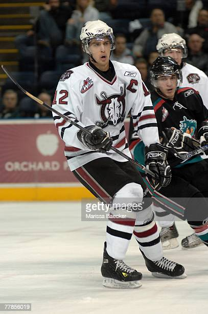 Brandon Sutter of the Red Deer Rebels skates on the ice against the Kelowna Rockets on November 7 2007 at Prospera Place in Kelowna Canada Sutter was...