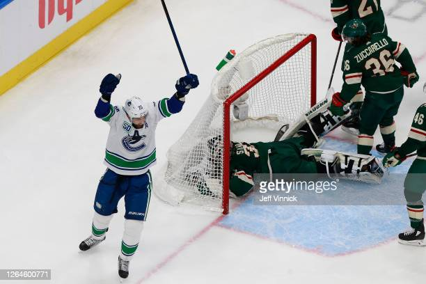 Brandon Sutter of the Vancouver Canucks celebrates after scoring a goal past Alex Stalock of the Minnesota Wild during the second period in Game Four...