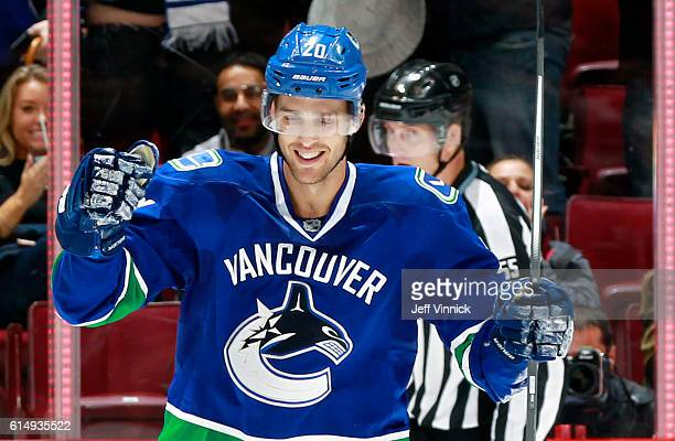 Brandon Sutter of the Vancouver Canucks celebrates his winning shootout goal against the Calgary Flames during their NHL game at Rogers Arena October...