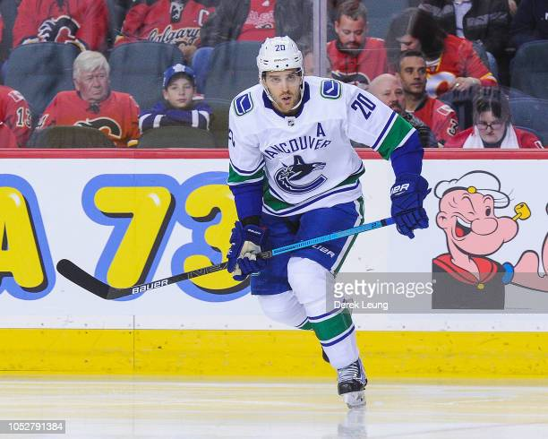 Brandon Sutter of the Vancouver Canucks in action against the Calgary Flames during an NHL game at Scotiabank Saddledome on October 6 2018 in Calgary...