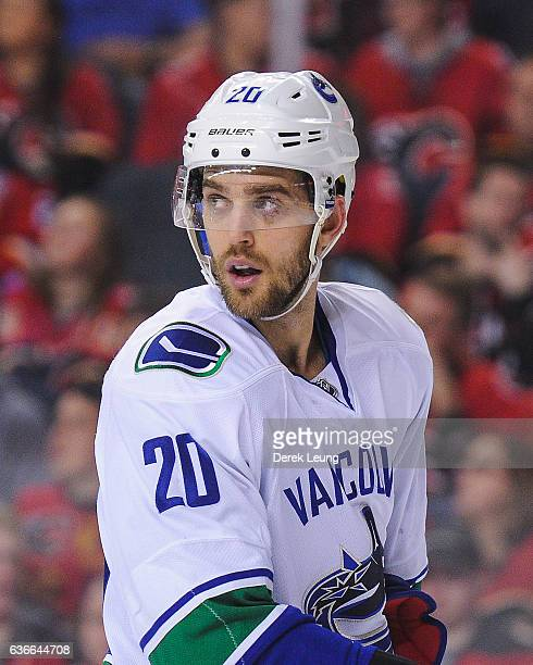 Brandon Sutter of the Vancouver Canucks in action against the Calgary Flames during an NHL game at Scotiabank Saddledome on December 23 2016 in...