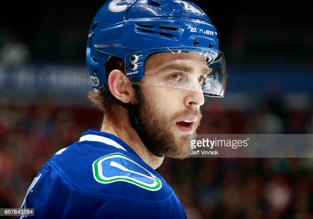 Brandon Sutter of the Vancouver Canucks looks on from the bench during their NHL game against the Detroit Red Wings at Rogers Arena February 28, 2017...