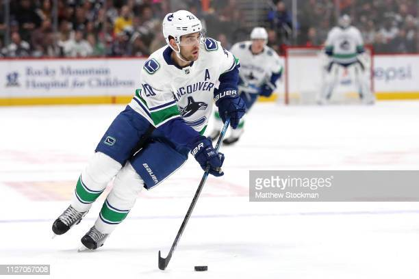 Brandon Sutter of the Vancouver Canucks plays the Colorado Avalanche at the Pepsi Center on February 02, 2019 in Denver, Colorado.