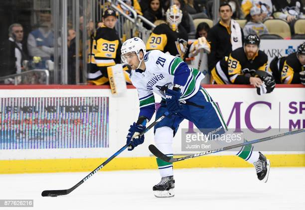 Brandon Sutter of the Vancouver Canucks scores an empty net goal in the third period during the game against the Pittsburgh Penguins at PPG PAINTS...
